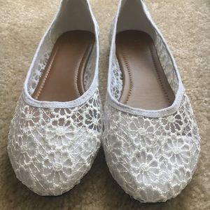 NEW white lace ballet flats 9.5